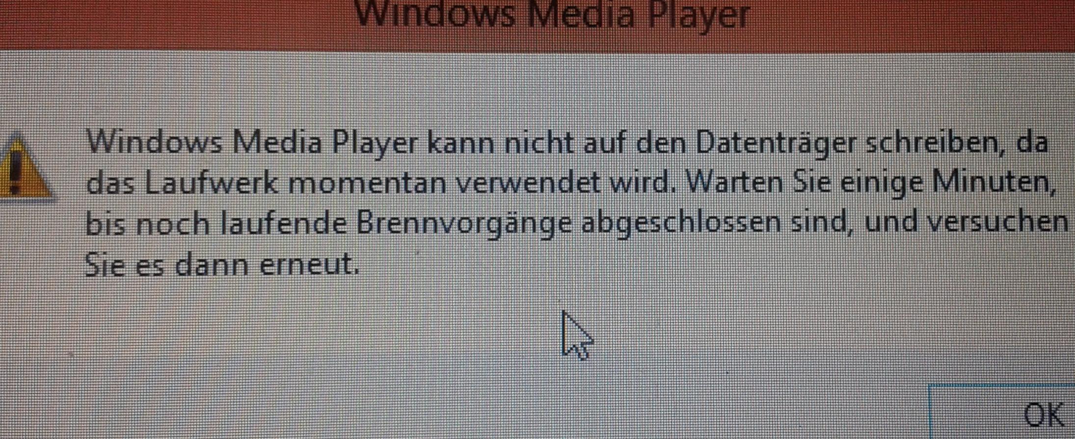 windows media player kann einige dateien nicht brennen