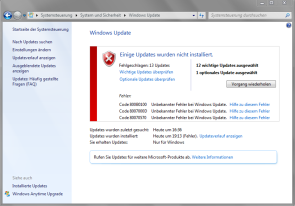 Windows Fehler bei Updates - (Windows, Software, Windows 7)