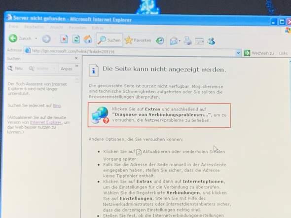 Windows xp die Seite kann nicht angezeigt werden?
