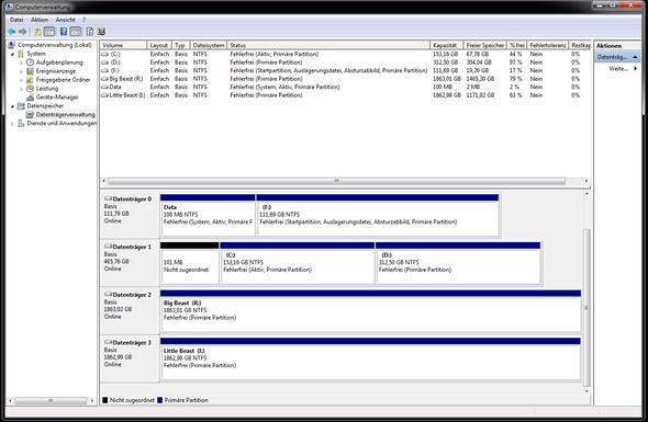 Datenträgerverwaltung - (Windows 7, Speicher, frei)