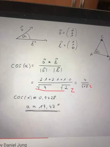 Winkel zwischen Vektoren - verstehe diesen Schritt nicht?