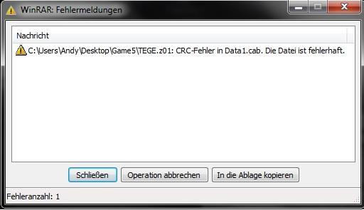 dere - (Spiele, Windows 7, Fehlermeldung)