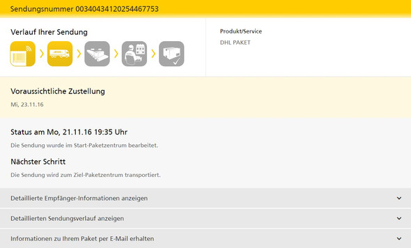 Screenshot - (Paket, DHL)