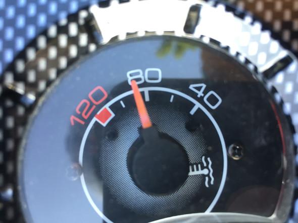 Hier meine Temperaturanzeige als er schon leicht abkühlte - (Technik, Roller, Mechanik)