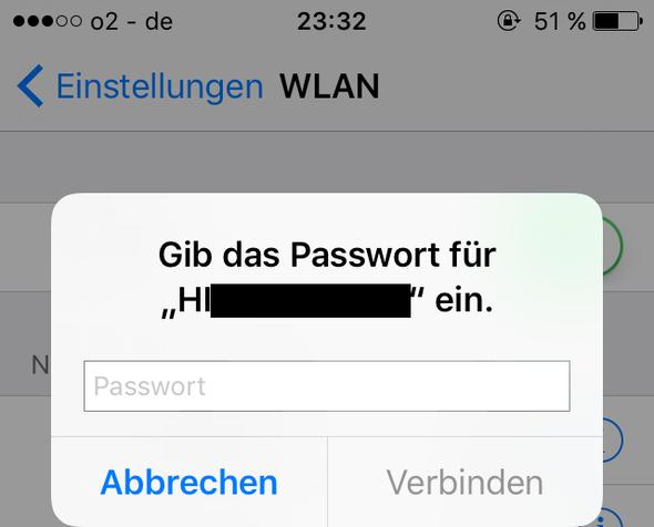 Verbindung gescheitert, da er Passwort anfordert (sonst immer auto. Verbindung) - (Handy, Technik, iPhone)