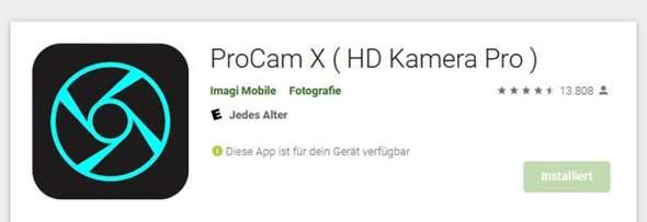 Wo finde ich die Bilder wieder von Pro Cam X auf meinem Android-Smartphone?
