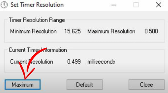 Wo finde Ich die Set timer Resolution Einstellung?