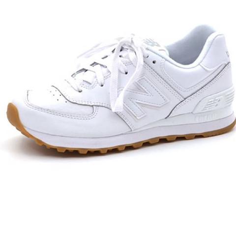 Weiße new Balance 574 in weiß mit Turnschuh Sohle  - (Schuhe, weiss, Sneaker)