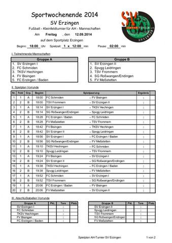 Turnierplan 7 Mannschaften