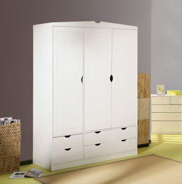 weißer Holzschrank - (Kleidung, weiss, Kleiderschrank)