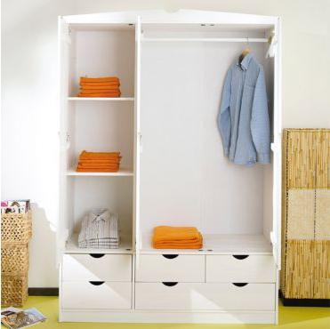 Kleiderstange, Bretter und Schubladen - (Kleidung, weiss, Kleiderschrank)