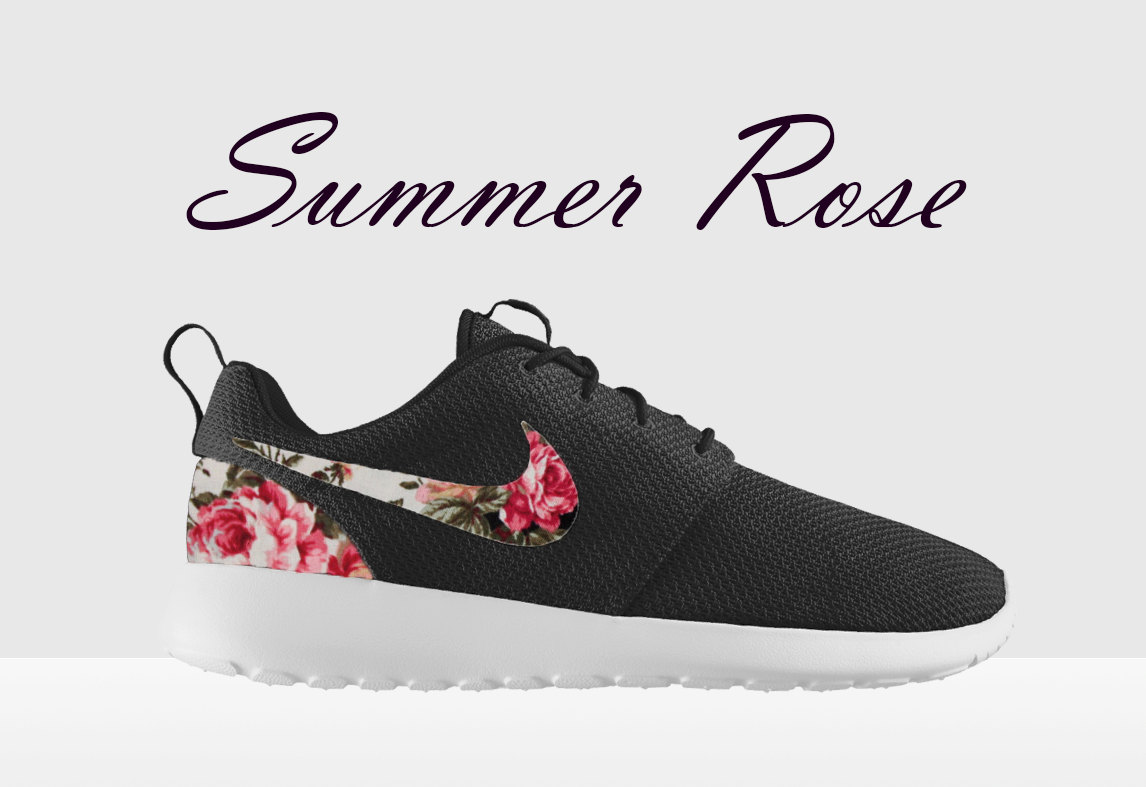 Nike Roshe Run Schwarz Blumen