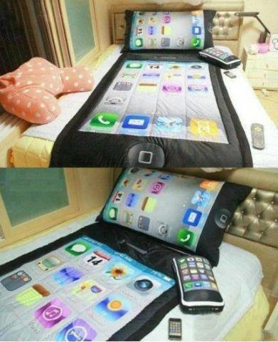 wo gibt es diese iphone bettw sche handy apple bett. Black Bedroom Furniture Sets. Home Design Ideas