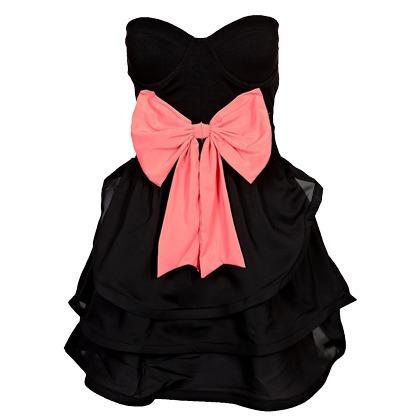wo gibt es dieses schwarze bustierkleid mit rosa schleife. Black Bedroom Furniture Sets. Home Design Ideas