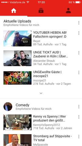 Wo ist bei der YouTube-App (iOS) die Suchfunktion (neues Design)?