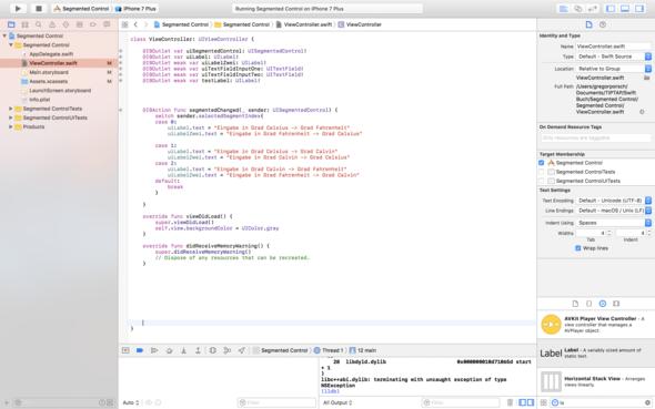 ViewContrller.swift - (Fehlermeldung, Xcode, Swift)