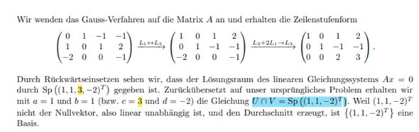 Wo ist die 3 in der Schnittmenge U ∩ V hin?