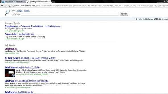 die suchergebnisse wenn ich ein stichwort in die url leiste eingebe - (Internet, Google, Browser)