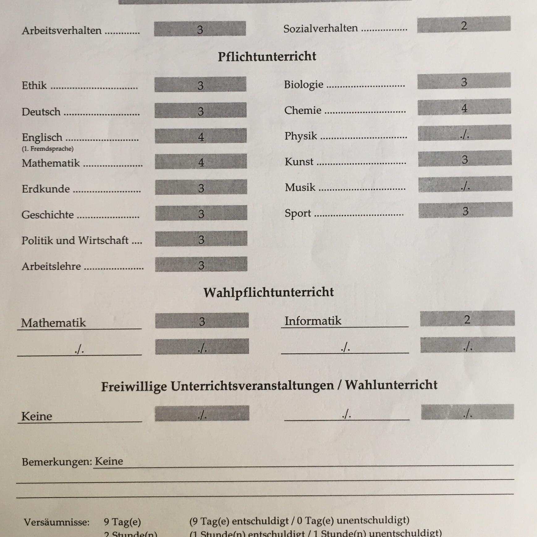 Zwischenzeugnis 2020 Bayern