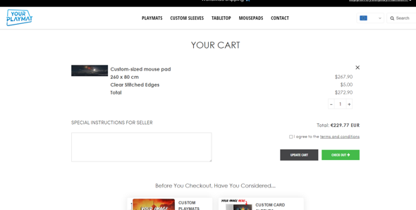 Wo kann ich mir Custom Mousepad mit 260cm x 80cm kaufen für weniger als 200€?