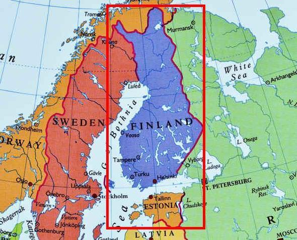 Karte beider Länder, wie sie sich gegenüber liegen - (Leben, finnland, estland)