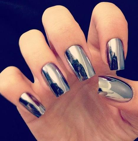 Nagel,Silber,Spiegeleffekt - (Beauty, Kosmetik, Make-Up)