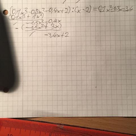 Wo liegt mein Fehler in dieser polynomdivision (siehe Foto)? (Schule ...