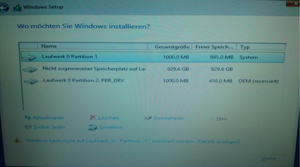 Wo möchten sie Windows installieren - (Windows 8.1, Partition)