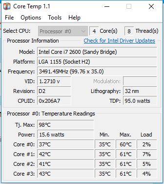 Ein Bild von CoreTemp. Power steht unter Tj Max. - (PC, Software, PC-Programme)