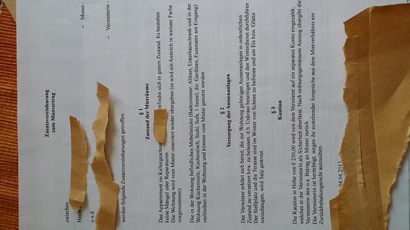 Zusatzvereinbarung - (Mietvertrag, renovierung, Auszug)