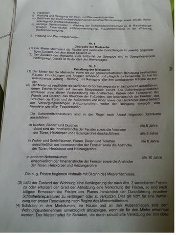 Kopie Mietvertrag - (Wohnung, Kaution, Wohnungsübergabe)