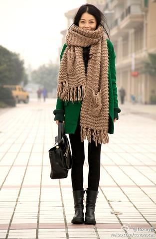 dicker Schal - (stricken, Wolle, Schal)