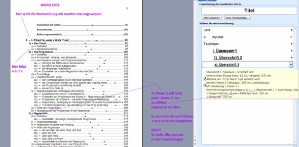 Screenshot zur Gliederung von Word 2003 - (Technik, Programm, Word)