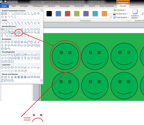 Smiley aus der Formen Liste - (Microsoft, Office, Format)