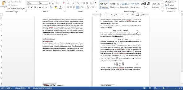 linke Seite endet quasi in der Mitte.  - (formatieren, Microsoft Word 2013)