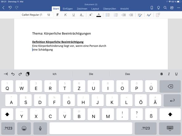 Word Anfangsbuchstabe klein schreiben?