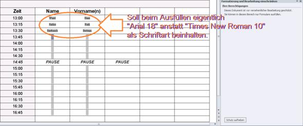 WORD-Formular: Schrifttyp beim Ausfüllen ändert sich. Warum?