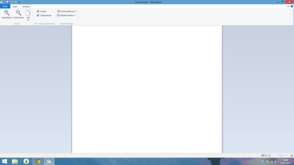 Screenshot 'Ansicht' - (Windows 8, word pad)