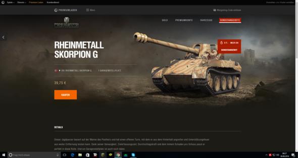 World of Tanks , Wie lange gibt es den Skorpion G noch zu kaufen ?