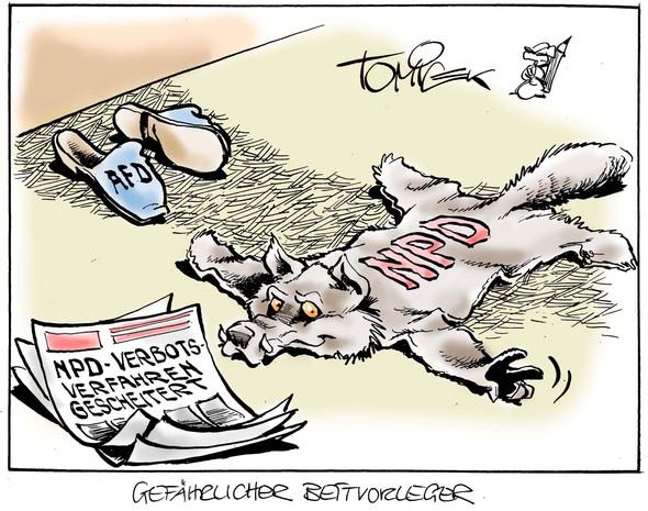 Gefährlicher Bettvorleger  - (Politik, Karikatur)