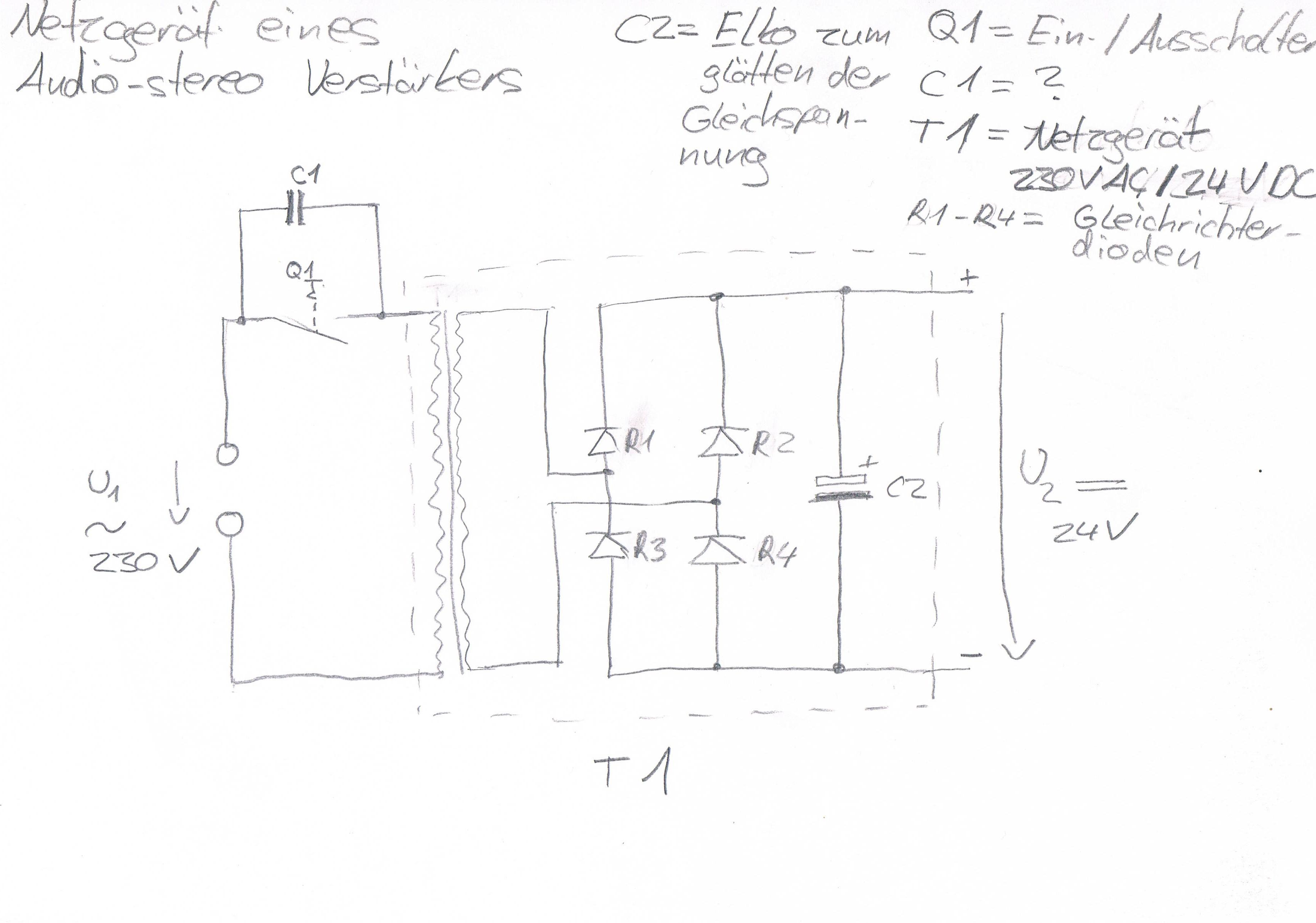 wozu dient der kondensator c1  schaltbild   netzteil  trafo
