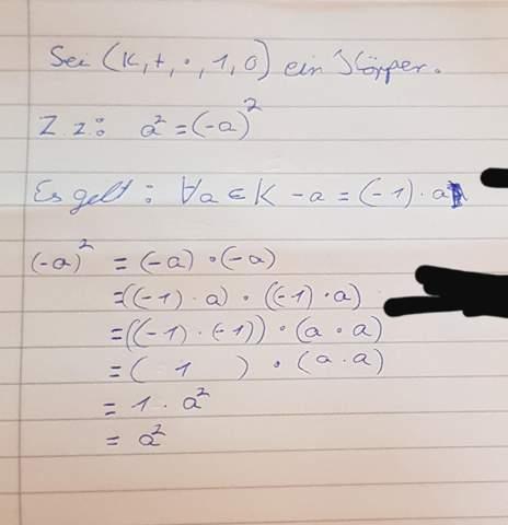 Würde das hier als Beweis reichen x^2=(-x)^2?
