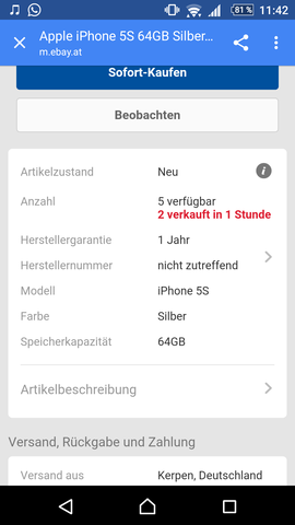 Ebay, Amazon - (iPhone, Ebay)