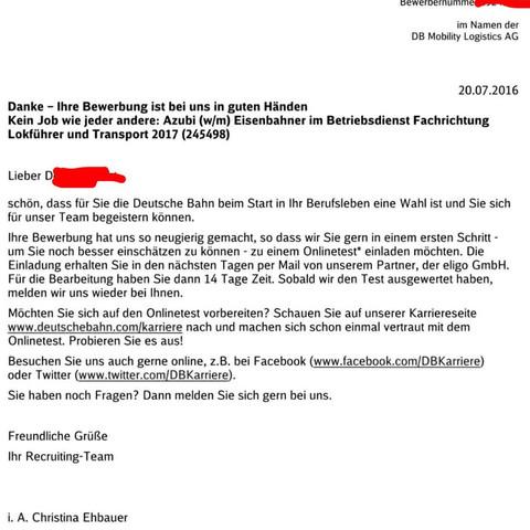 hier die email ausbildung bewerbung deutsche bahn - Online Test Bewerbung