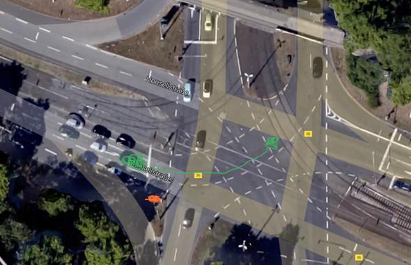 Grün: Mein Auto+Fahrtrichtung Orange:Vermutlicher Blitzerstandort - (rot, Bussgeld, geblitzt)