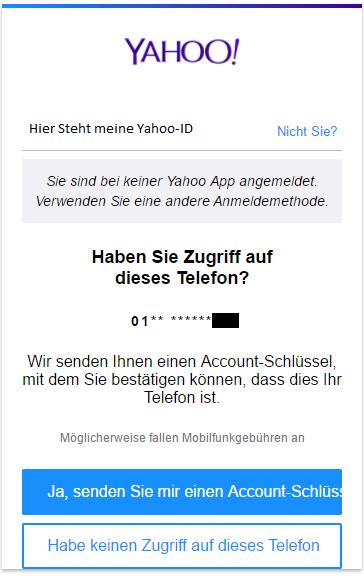 Account Schlüssel Yahoo