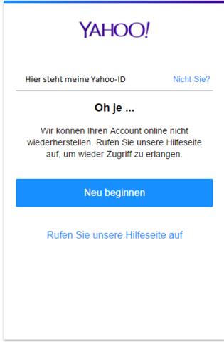 yahoo account löschen ohne passwort