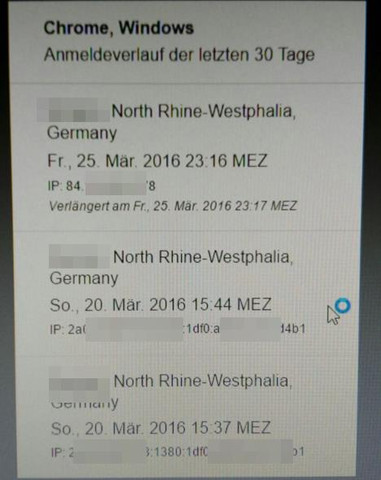 ...unten die 2 IP's (die ich ein bisschen komisch und lang finde)... - (Facebook, Name, Passwort)