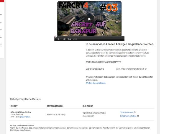 YouTube Urheberrecht  - (Youtube, Kanal, Far Cry 4)