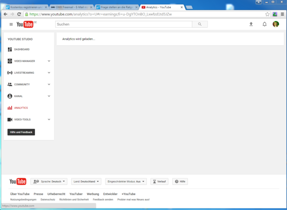 Hier sollten die Analytics stehen, tun sie aber nicht :c - (Youtube, Laden, Analytics)